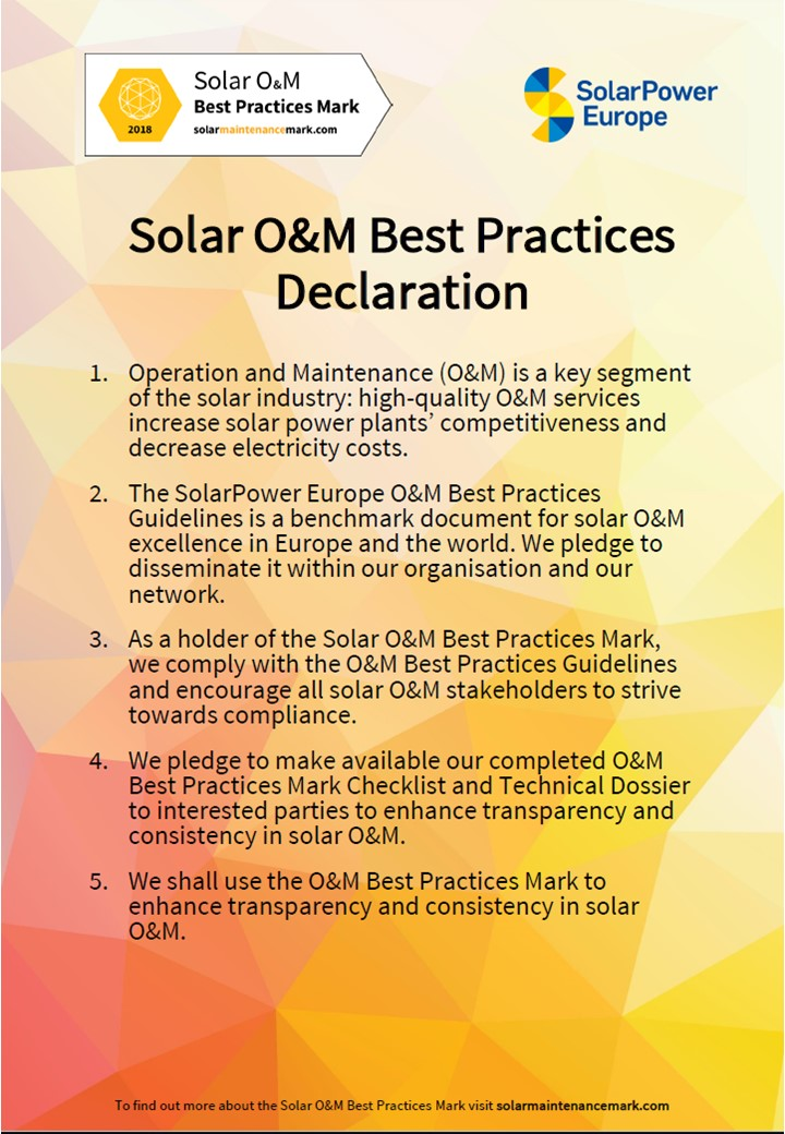 The Solar O&M Best Practices Declaration